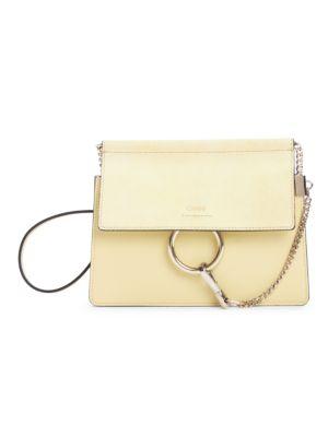 ChloÉ Mini Faye Leather & Suede Shoulder Bag In Raffia