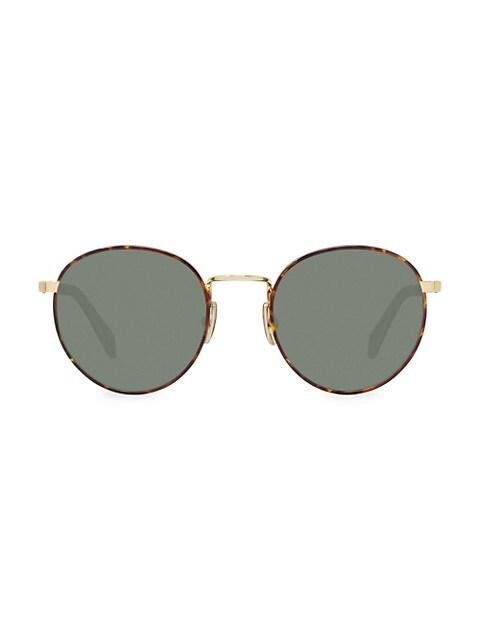 50MM Medium Round Havana Sunglasses