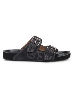 Isabel Marant Sandals Lennyo Embroidered Suede Sandals