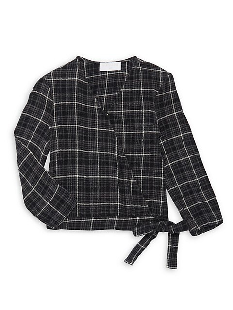 Little Girl's & Girl's Plaid Wrap Top