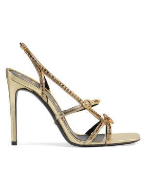 Gucci Sandals Carmen Metallic Crystal Leather Sandals
