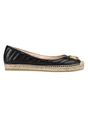 Gucci Flats Pilar Double G Leather Espadrille Flats