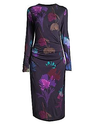 Esetta Ruching Jersey Floral Print Sheath Dress by Boss