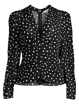 Dotted Long Sleeve V Neck Top by Rebecca Taylor