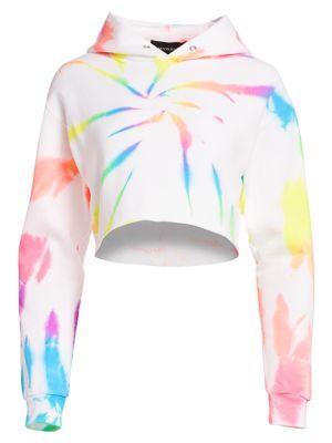 Myrrhe Crop Neon Rainbow Splatter Hoodie