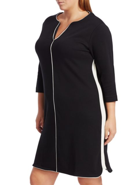 Joan Vass, Plus Size Contrast Piping Shift Dress | SaksFifthAvenue