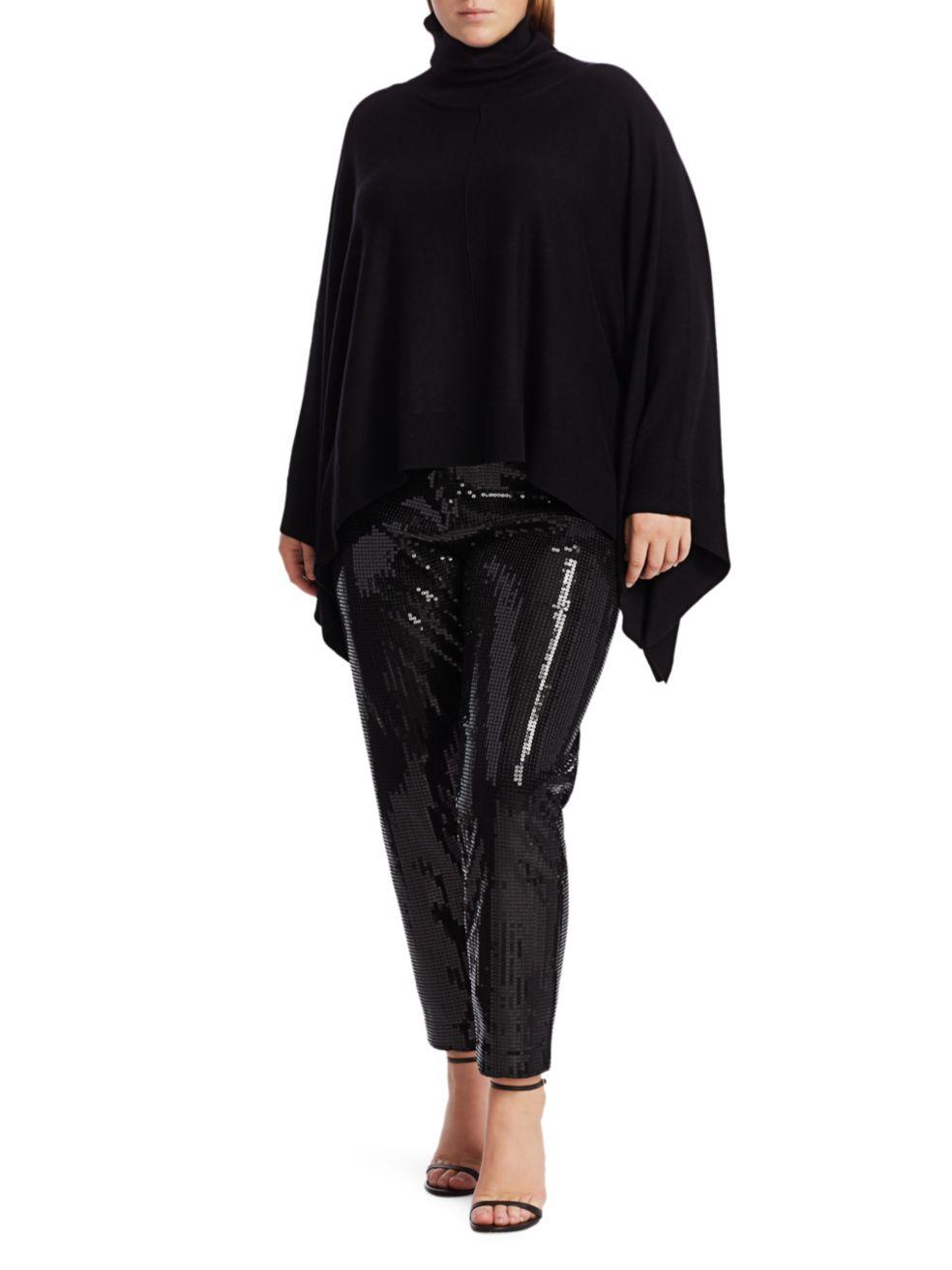 Joan Vass, Plus Size Modern-Fit Turtleneck Poncho Sweater   SaksFifthAvenue