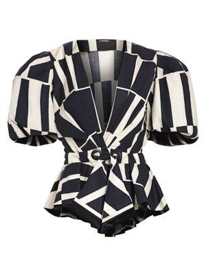 Johanna Ortiz Tops Mastermind Two-Tone Print Puff-Sleeve Wrap Handkerchief Peplum Top