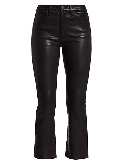 Le Crop High-Rise Mini Bootcut Leather Pants