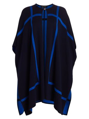 St John Reversible Wool Blend Graphic Knit Cape Jacket