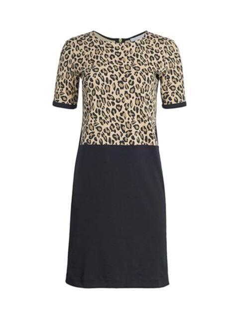 Joan Vass Petite Leopard Bodice Shift Dress | SaksFifthAvenue