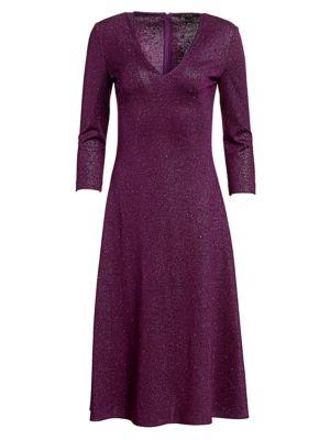 St John Evening Milano Sequin Knit V Neck Dress