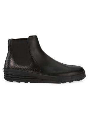 Fendi Boots Square-Toe Leather Chelsea Boots