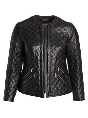 Lafayette 148 New York, Plus Size Tanner Leather Quited Jacket