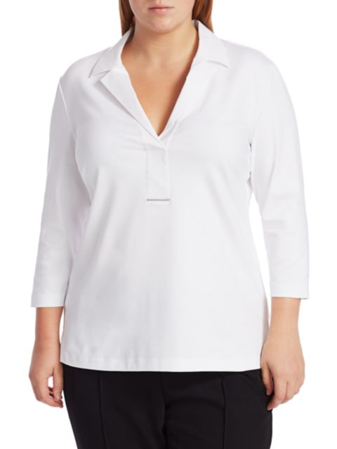 Lafayette 148 New York, Plus Size Magda Half Placket Shirt | SaksFifthAvenue