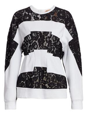 No 21 No 21 Transitional Stripe Lace Insert Sweatshirt