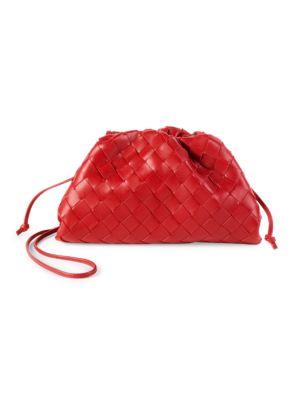 Bottega Veneta Small The Pouch Leather Clutch In Bright Red