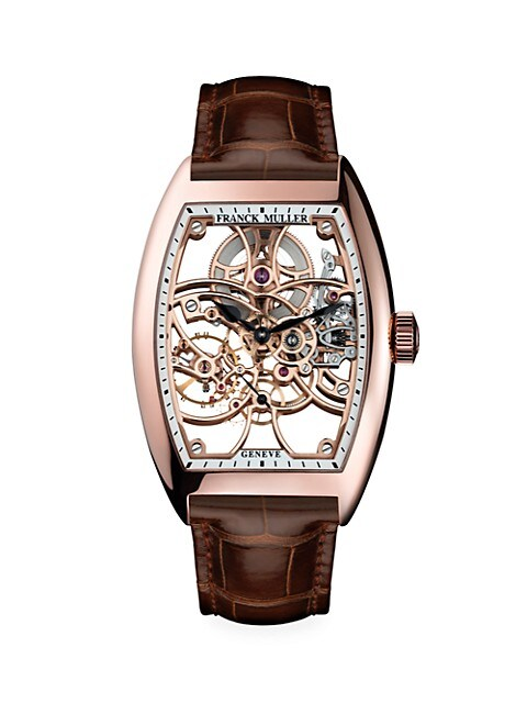 Cintrée Curvex Skeleton Rose Gold & Alligator Strap Watch