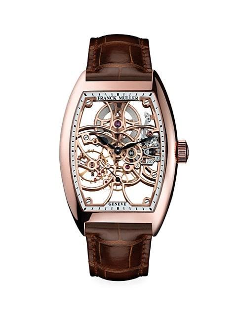 Cintrée Curvex Skeleton Rose Gold & Alligator Strap Watch