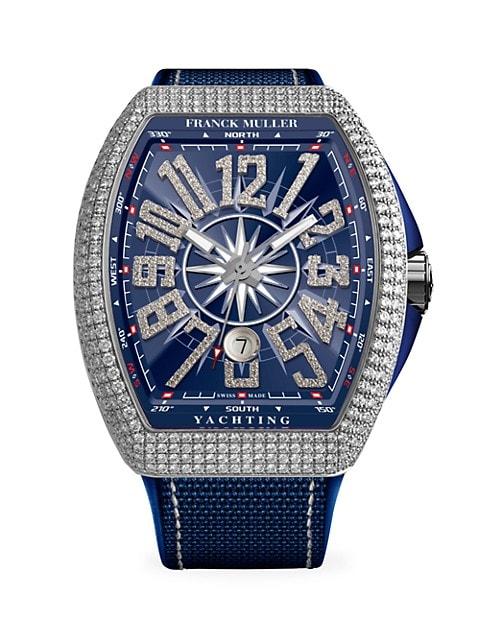 Vanguard Yachting White Gold, Diamond, Alligator & Rubber Strap Watch