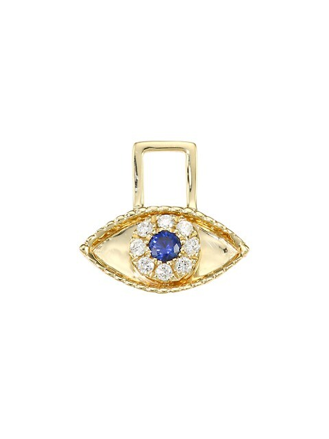 EarWish 14K Yellow Gold, Diamond & Blue Sapphire Third Eye Single Earring Charm