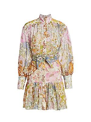 Super Floral Print High Neck Mini Dress by Zimmermann