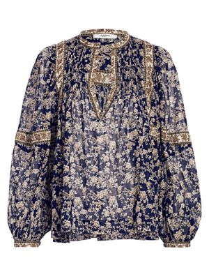 Violette Midnight Print Floral Puff Sleeve Blouse