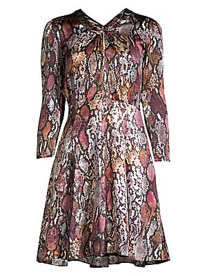 Python Print Silk Mini Dress by Rebecca Taylor