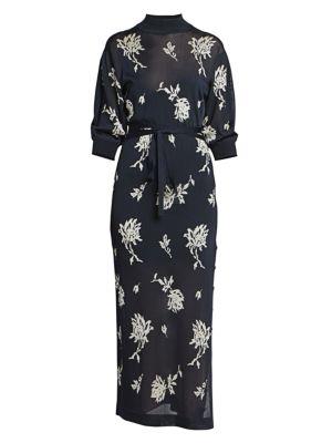Chloé Dresses Floral Mockneck Knit Midi Dress