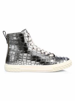 Giuseppe Zanotti High tops Braky Print Argento Metallic Crocodile-Embossed Leather High-Top Sneakers