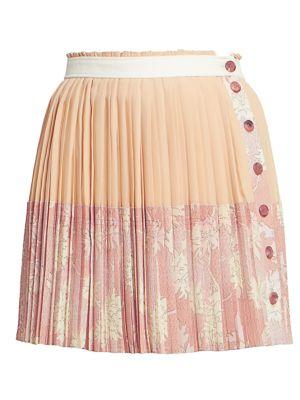 Chloé Skirts Pleated Floral Button Silk Mini Skirt