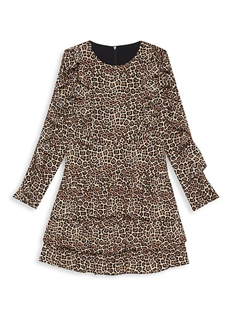 Girl's Whit Ra Ra Leopard-Print Ruffled Dress