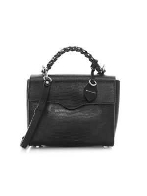 Rebecca Minkoff Women's Chain-trimmed Leather Satchel In Black