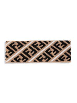 Fendi Ff Logo Stripe Headband In Mud Black White