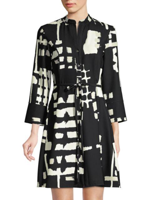 Natori Block-Print Tie-Waist Shirt Dress   SaksFifthAvenue
