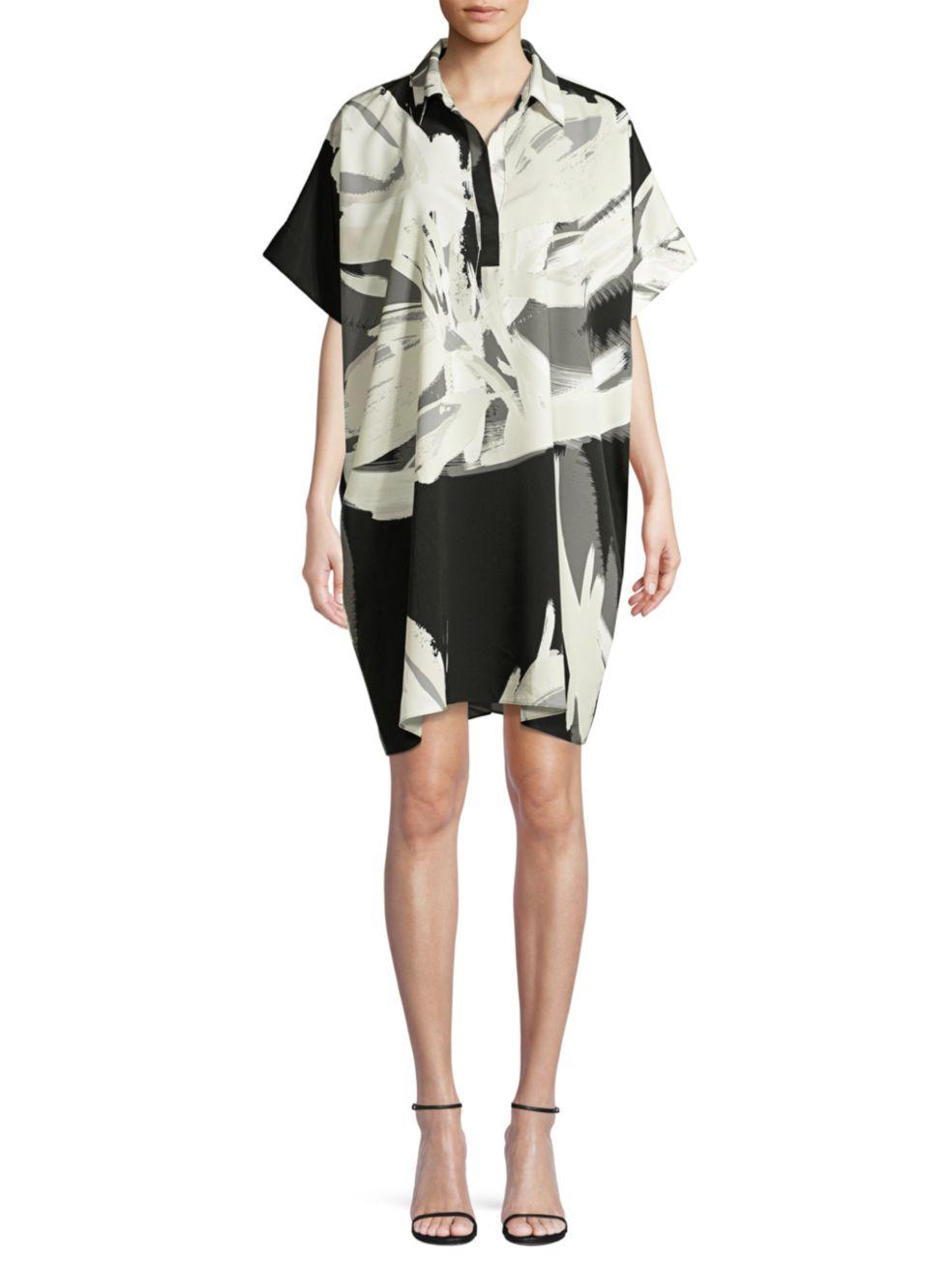 Natori Petal-Print Shirt Dress   SaksFifthAvenue