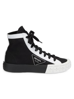 Colorblock High-Top Cotton Sneakers by Prada, available on saksfifthavenue.com for $650 Negin Mirsalehi Shoes Exact Product