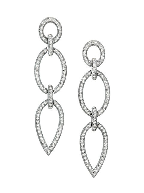 Pavé Diamond Double Drop Earrings