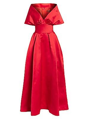 Off The Shoulder Duchess Satin Ball Gown by Zac Posen