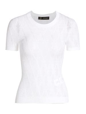 Versace Women's Short-sleeve Tattoo Knit Top In White