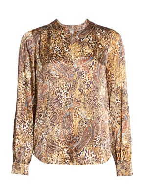 L Agence Women's Leopard & Paisley Print Blouse In Bronze