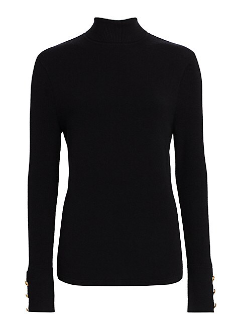 Odette Button-Cuff Turtleneck Top