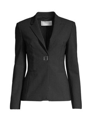 Boss Jackets Julea4 Strech Wool-Blend Metal Snap Pinstripe Jacket
