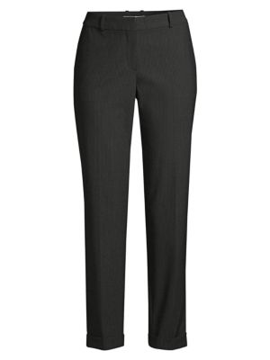 Boss Pants Tocanes1 Stretch Wool Blend Pinstripe Cuffed Trousers