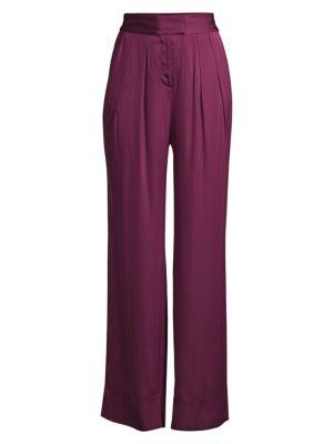 Rebecca Taylor Pants High-Rise Satin Pants