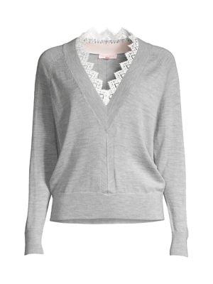 Rebecca Taylor Sweaters Merino Wool Lace-Trim Sweater
