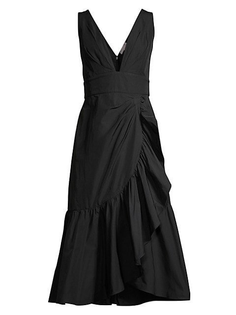 Ruffled A-Line Midi Taffeta Dress