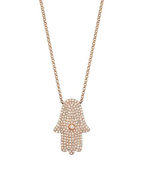 14K Rose Gold & Diamond Hamsa Pendant Necklace