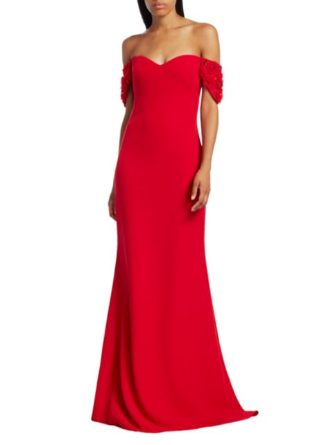 Badgley Mischka Floral Appliqué-Sleeve Stretch-Crepe Off-the-Shoulder Column Gown   SaksFifthAvenue