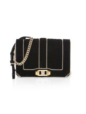 Rebecca Minkoff Messengers Small Love Chevron Quilted Suede Crossbody Bag